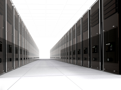 3d computer servers in perspective over a white background